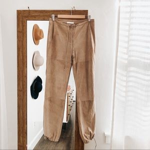 MaxMara | Tan Suede Cinched Bottom Pants